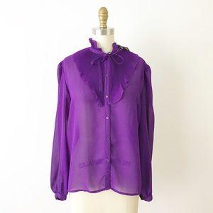 Vintage Purple Ruffle Front Button Down Top K4